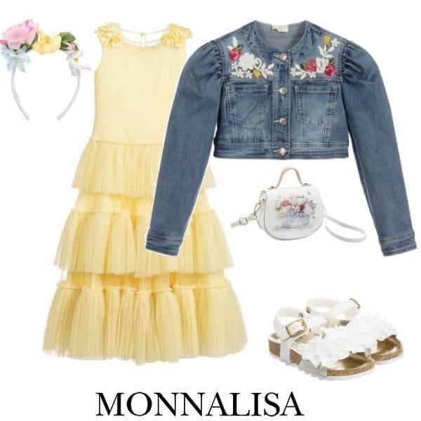 Monnalisa Chic Girls Yellow Tulle Maxi Dress Blue Denim Cropped Jacket Spring 2020