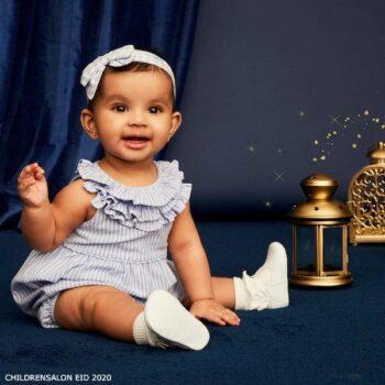 Ralph Lauren Baby Girls Blue Cotton Shortie
