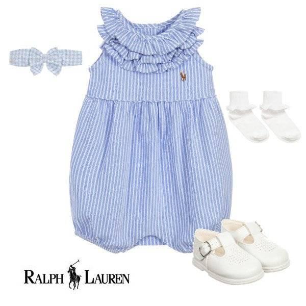 Ralph Lauren Baby Girls Blue Cotton Shortie Spring 2020