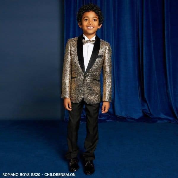 Romano Boys Gold & Black 4 Piece Special Occasion Suit EID 2020