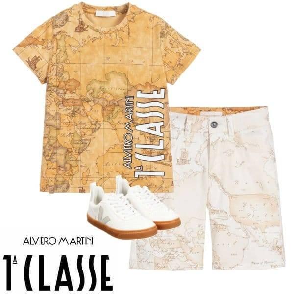 Alviero Martini 1A Classe Boys Beige Geo Map T-Shirt Shorts