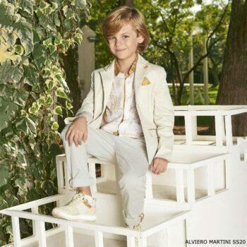 Alviero Martini Boys Beige Geo Map Blazer Jacket Trousers