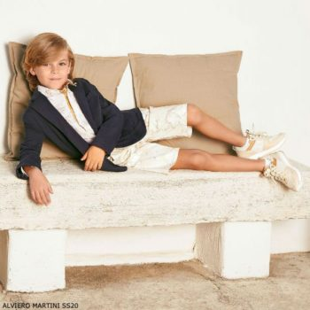 Alviero Martini Boys Blue Cotton Geo Map Blazer Jacket Beige Shorts
