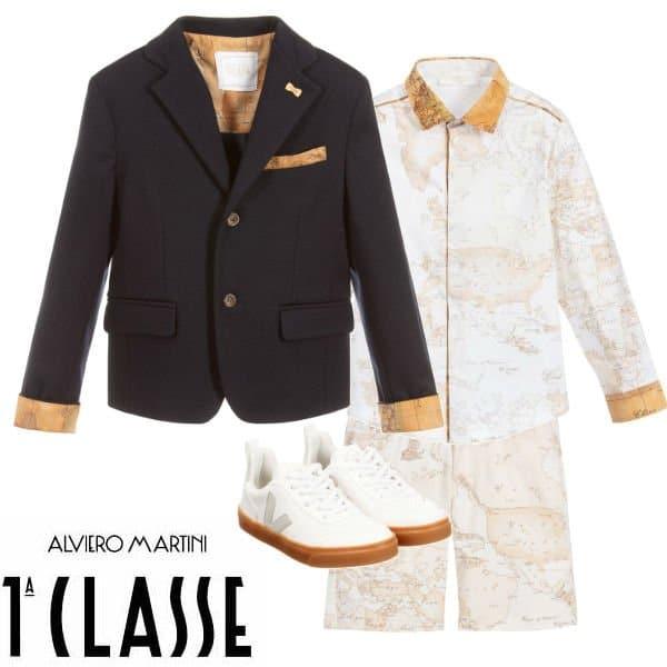 Alviero Martini Boys Blue Cotton Geo Map Blazer Jacket Beige Shorts Spring 2020