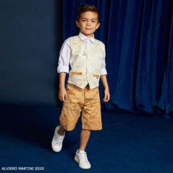 Alviero Martini Boys White Geo Map Print Vest Dark Beige Shorts