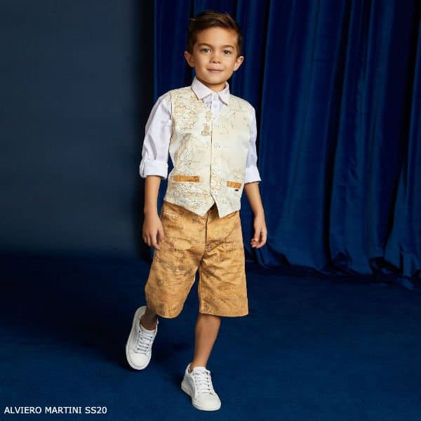 Alviero Martini Boys White Geo Map Print Vest Dark Beige Shorts