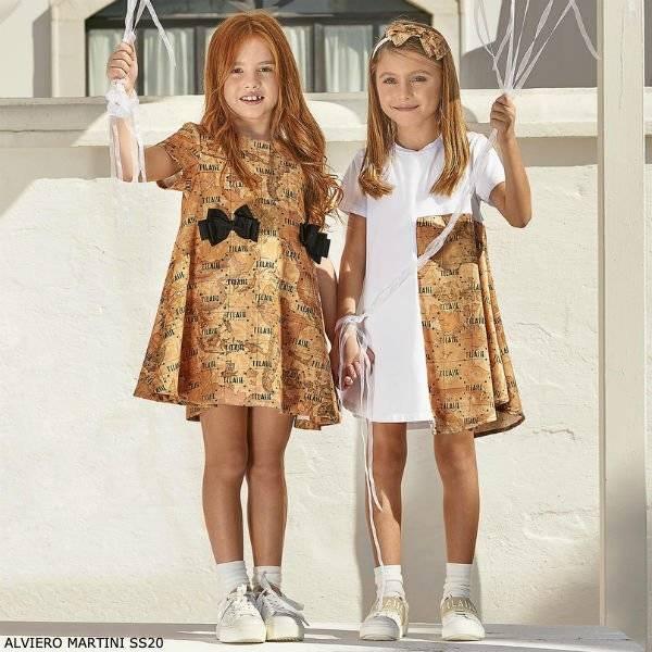 Alviero Martini Girls Beige Geo Map Black Bow Dress