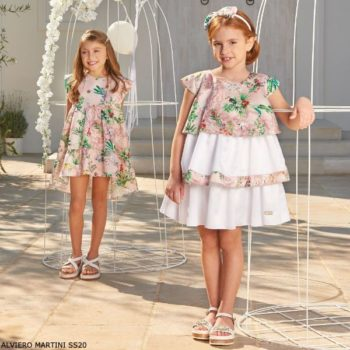 Alviero Martini Girls White Pink Floral Geo Map Party Dress
