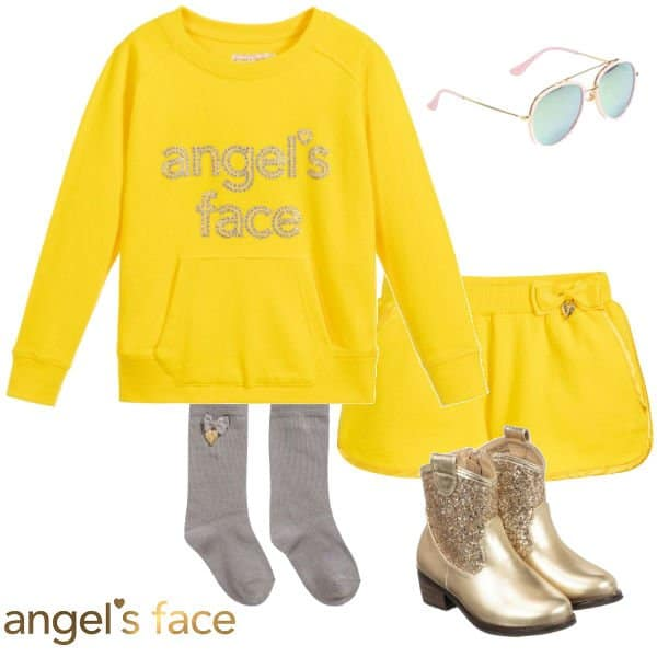 Angels Face Girls Yellow Logo Sweatshirt Shorts Spring 2020