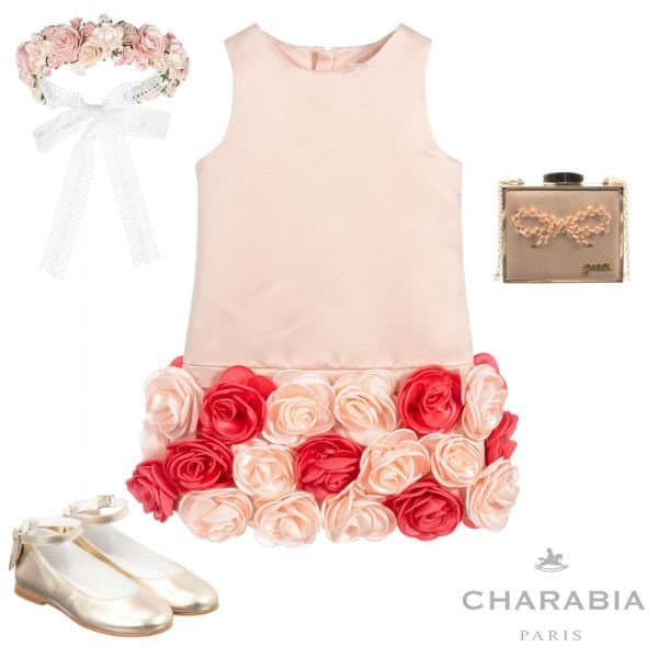 Charabia Pairs Girls Pink Satin Flower Special Occasion Dress Spring 2020