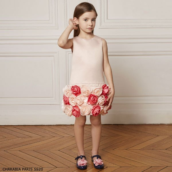 CHARABIA PAIRS GIRLS PINK SATIN FLOWER SPECIAL OCCASION DRESS