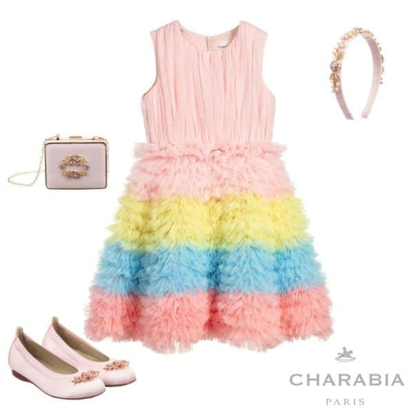 Charabia Paris Girl's Pink Yellow Blue Tulle Layered Special Occasion Dress Spring 2020