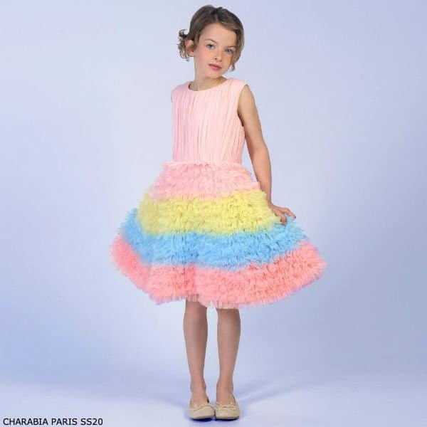 Charabia Paris Girl's Pink Yellow Blue Tulle Layered Special Occasion Dress