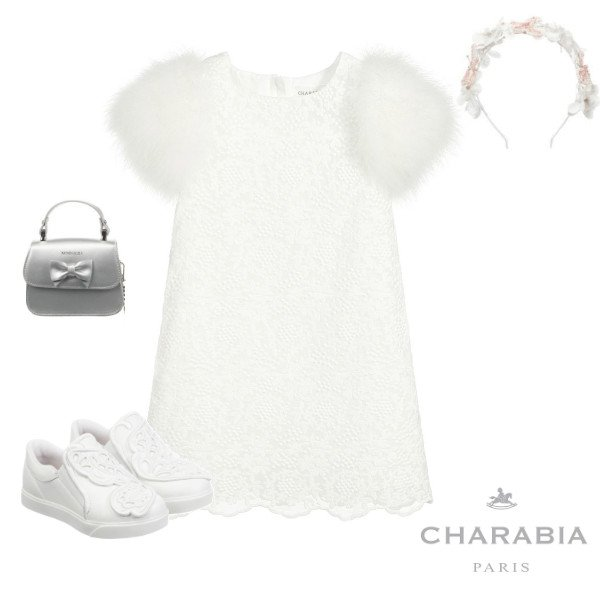 Charabia Paris Girls White Lace Feather Special Occasion Dress Spring 2020