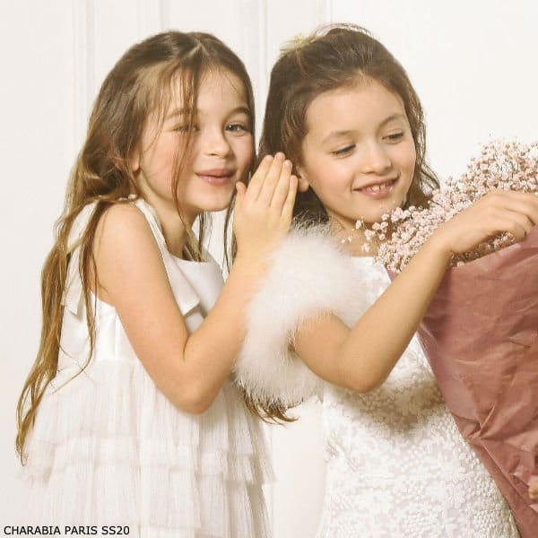 CHARABIA PARIS GIRLS WHITE LACE FEATHER SPECIAL OCCASION DRESS