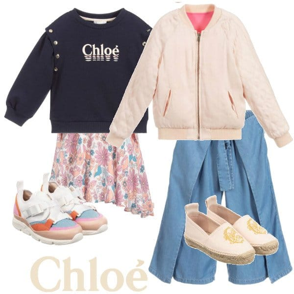 Chloe Girls Mini Me Pink Orange Reversible Jacket Blue Culotte Pants Spring 2020