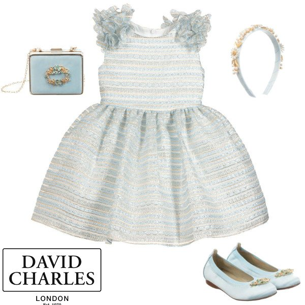 David Charles Blue & Gold Organza Flower Sleeveless Party Dress Spring 2020