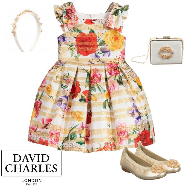 David Charles Girls Gold White Striped Floral Print Party Dress Spring 2020