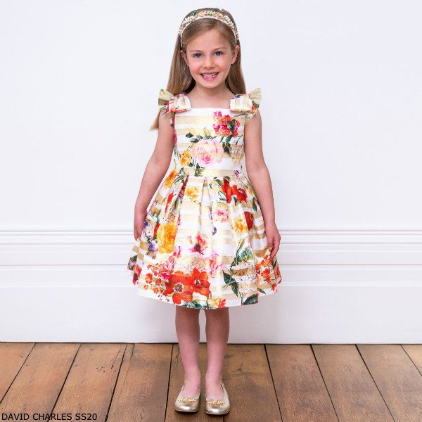 David Charles Girls Gold White Striped Floral Print Party Dress