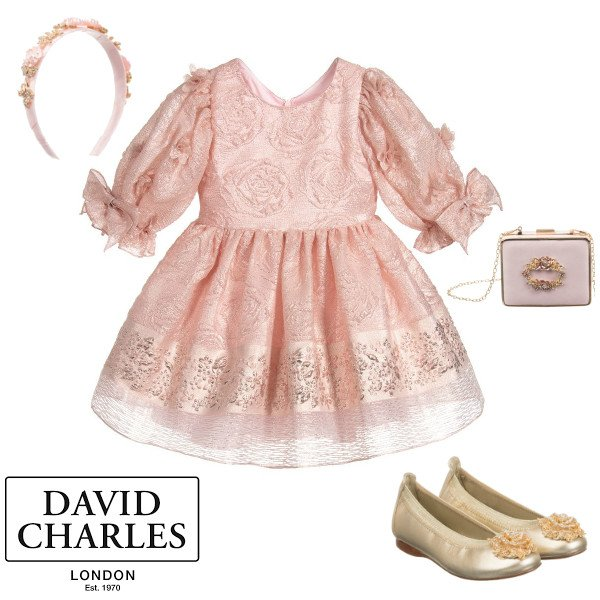 David Charles Girls Pink Jacquard Floral Print Special Occasion Dress Spring 2020