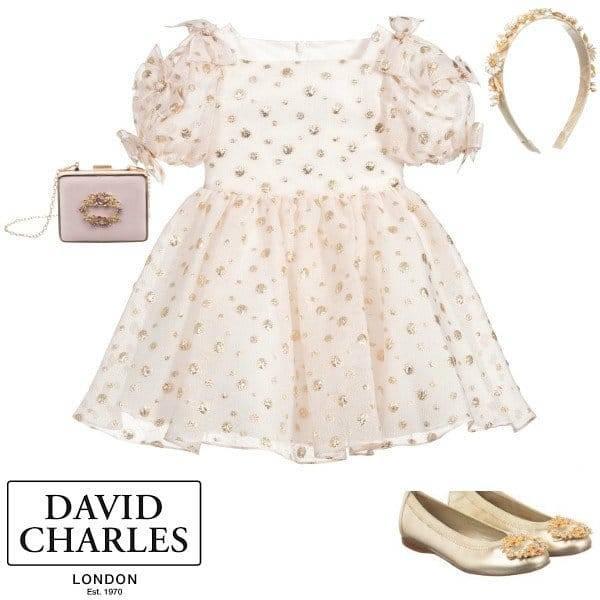 David Charles Girls Pink Organza & Gold Polkadot Party Dress Spring 2020