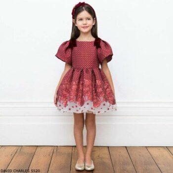 David Charles Girls Red Brocade Velvet Bows Special Occasion Dress