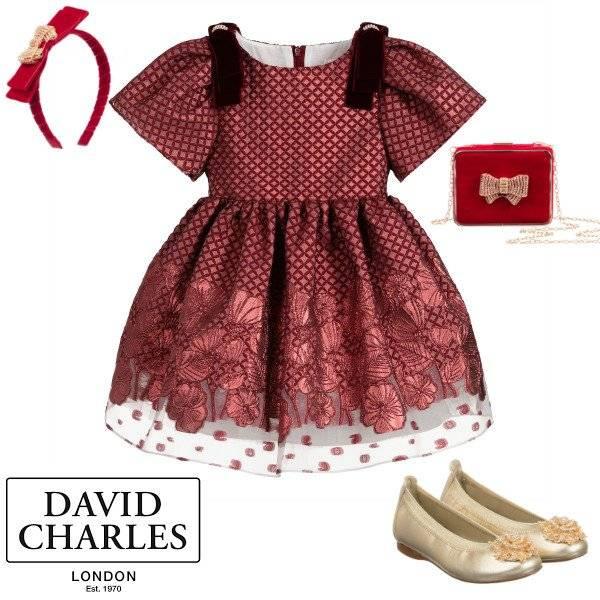 David Charles Girls Red Brocade Velvet Bows Special Occasion Dress Spring 2020