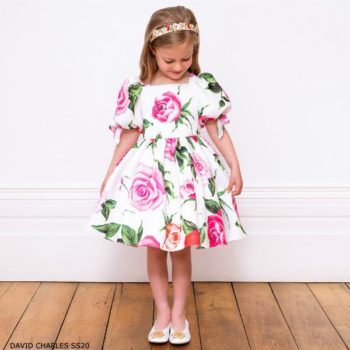 David Charles Ivory & Pink Rose Special Occasion Dress
