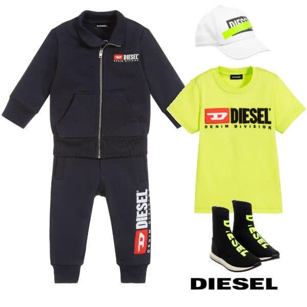 Diesel Baby Boy Blue Cotton Logo Tracksuit Spring 2020