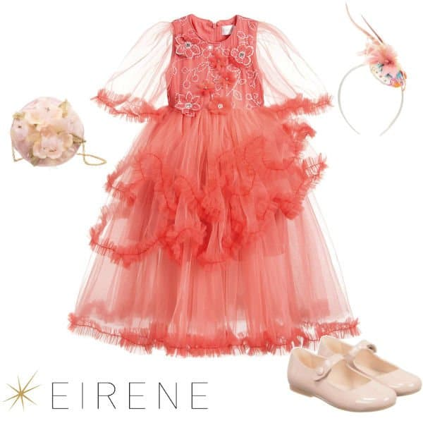 Eirene Girls Coral Pink Tulle Full Length Special Occasion Dress Spring 2020