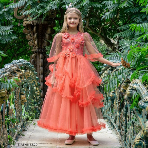 Eirene Girls Coral Pink Tulle Full Length Special Occasion Dress