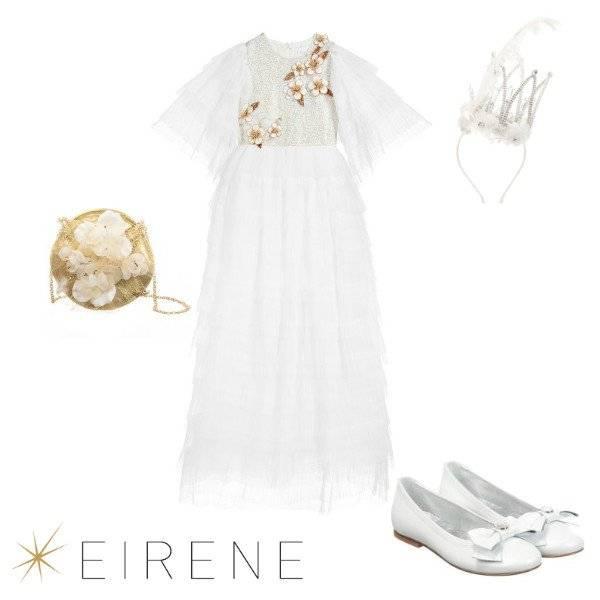 Eirene Girls White Tulle Gold Flower Applique Full Length Special Occasion Dress Spring 2020