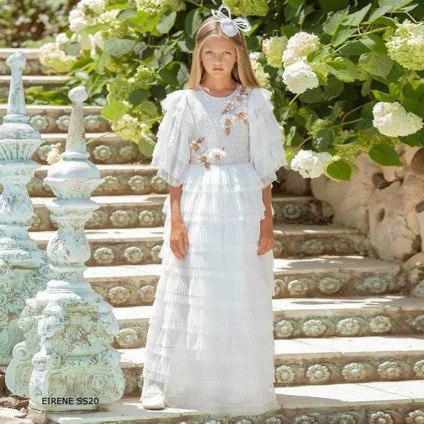 Eirene Girls White Tulle Gold Flower Full Length Special Occasion Dress