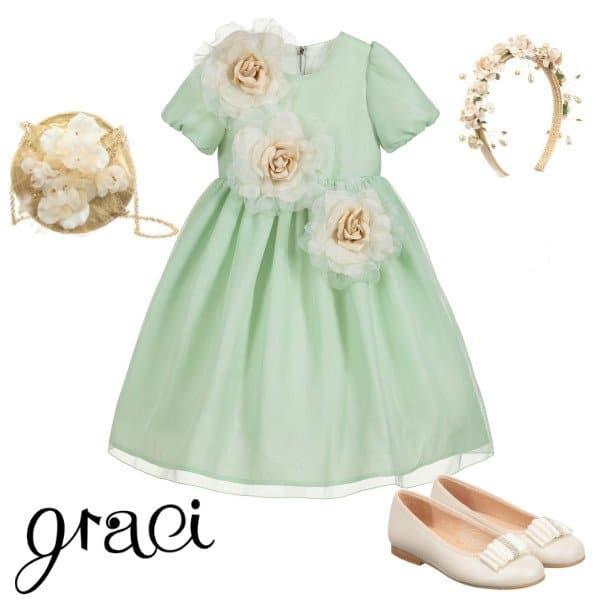 Graci Girls Green Tulle & Gold Roses Flower Girl Dress