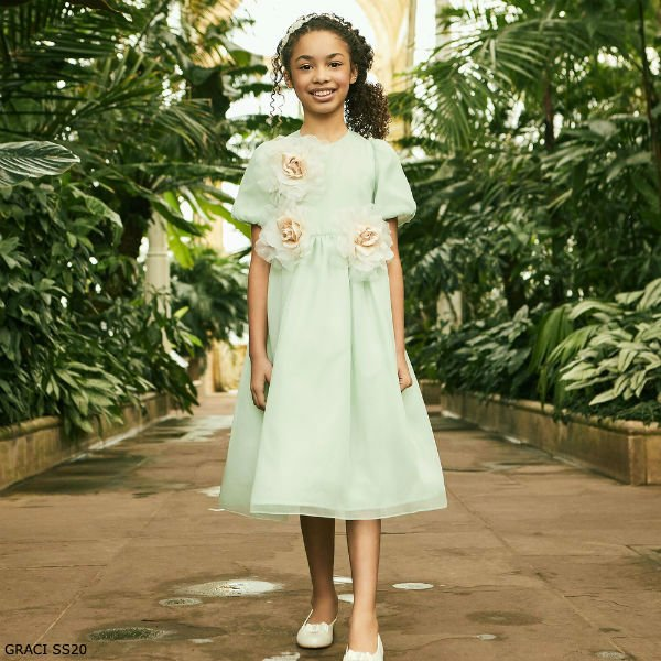 GRACI GIRLS GREEN TULLE & GOLD ROSES SPECIAL OCCASION DRESS