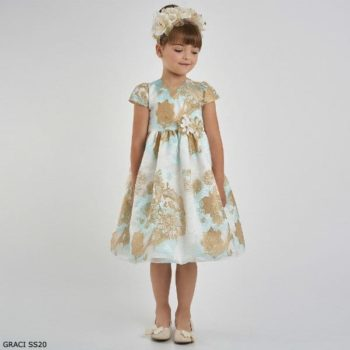 Graci Girls Ivory & Gold Blue Brocade Special Occasion Dress