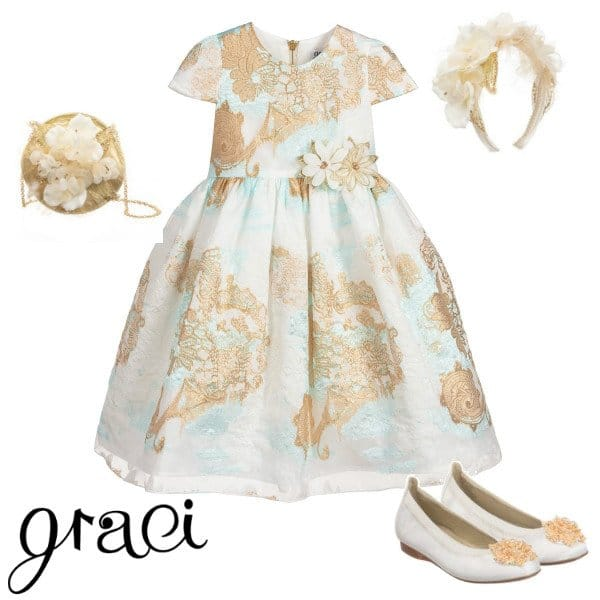 Graci Girls Ivory & Gold Blue Brocade Special Occasion Dress Spring 2020