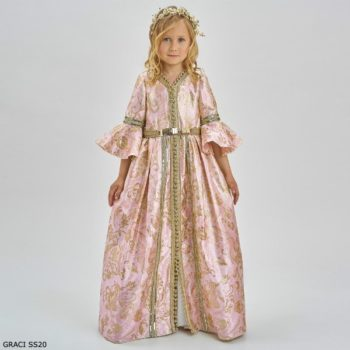 Graci Girls Pink & Gold Brocade Princess Full Length Gown