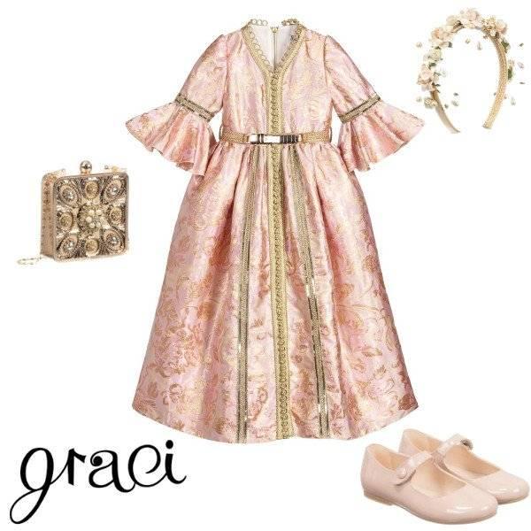 Graci Girls Pink & Gold Brocade Princess Full Length Gown Spring 2020