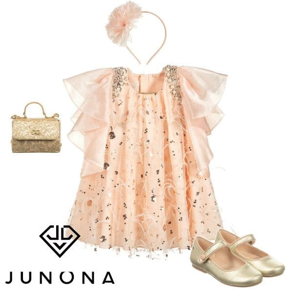 Junona Girl Pink Sequin Feather Special Occasion Dress & Headband Spring 2020