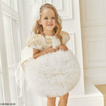 Junona Girls Gold Chiffon & While Tulle Puff Ball Special Occasion Dress
