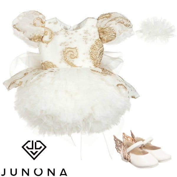 Junona Girls Gold Chiffon & While Tulle Puff Ball Special Occasion Dress Spring 2020
