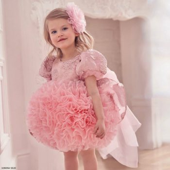 Junona Girls Pink Chiffon & Tulle Puff Ball Special Occasion Dress