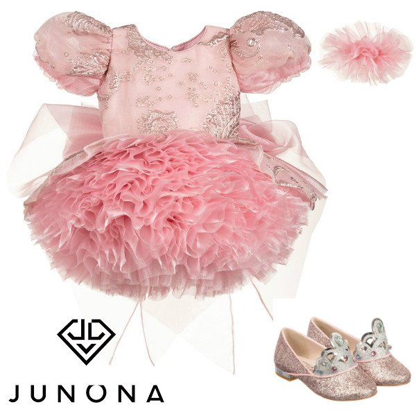 Junona Girls Pink Chiffon & Tulle Puff Ball Special Occasion Dress Spring 2020
