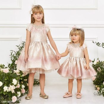Junona Girls Pink Gold Feather Special Occasion Dress