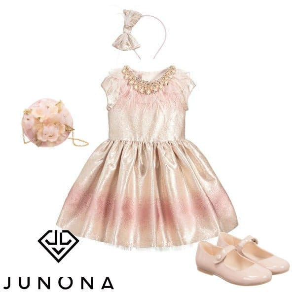 Junona Girls Pink Gold Feather Special Occasion Dress Spring 2020
