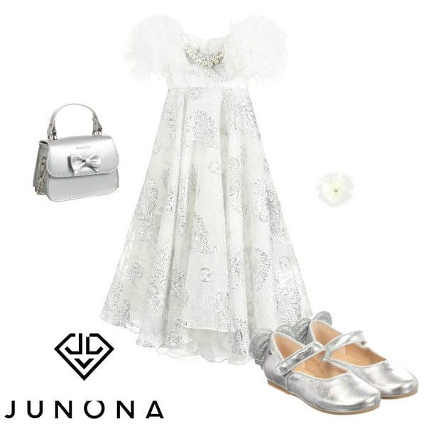 Junona Girls White & Silver Brocade Special Occasion Dress SS20