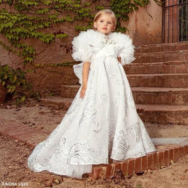 Junona Girls White & Silver Brocade Special Occasion Dress