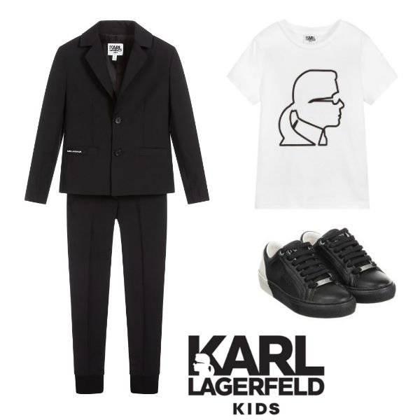 KARL LAGERFELD KIDS Boys Black Wool Special Occasion Suit Logo Shirt