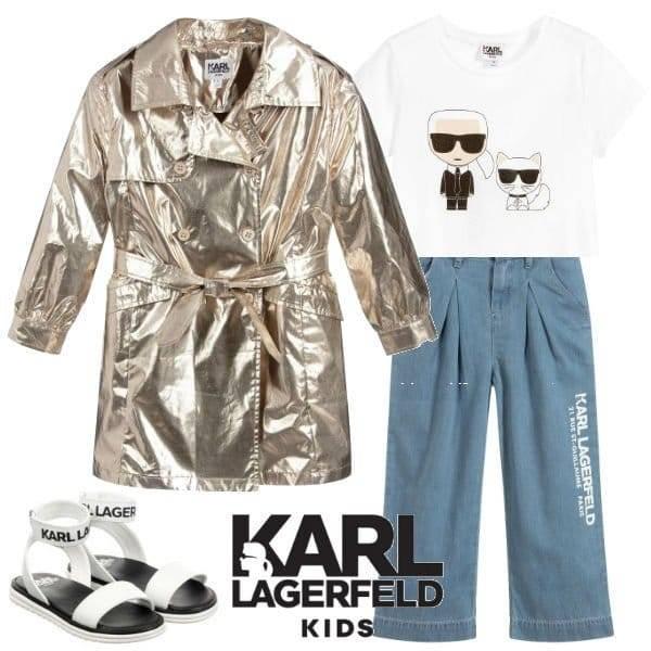 KARL LAGERFELD KIDS Girls Gold Shimmer Trench Coat Blue Wide Leg Pants Spring 2020